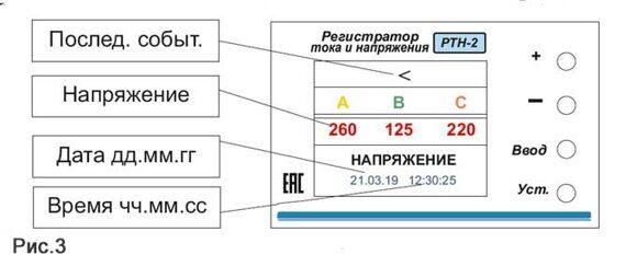 Отображение аварии по напряжению на РТН-2